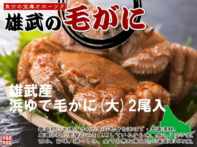 【北海道雄武産】浜茹毛がに姿(大)2杯500g×2