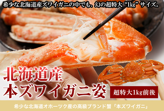 【北海道産】本ズワイガニ姿1kg前後 ¥6,840