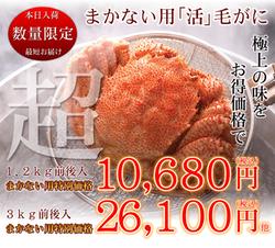 【北海道産】毛ガニ(まかない用)1.5kg前後(2〜5杯計)