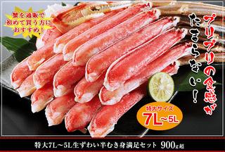 特大7L~5L生ずわい蟹半むき身満足セット900g超